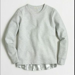 J Crew Gray Sweatshirt with Sequin Hem Trim